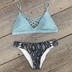 Cupshe Salty Seabreeze Lace Up Bikini Set - M