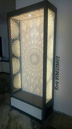 Temple in Corian Living Room Partition Design, Study Room Design, Room Partition Designs, Ceiling Design Living Room, Tv Wall Design, Home Room Design, House Design, Wooden Temple For Home, Temple Design For Home