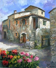 Remembrance ~ Francis Mangialardi Landscape Art, Landscape Paintings, Pintura Colonial, Pintura Exterior, Cottage Art, Country Paintings, Wow Art, Italian Artist, Old Houses