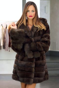 Barguzine Sable Fur Hooded Coat