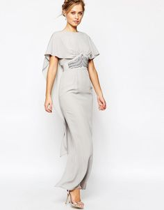 Elise Ryan | Elise Ryan Maxi Cape Dress with Embellished Waist at ASOS