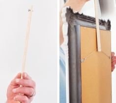 GENIUS trick for hanging picture frames/mirrors without making dozens of holes. screw-plus-paint-stick-trick
