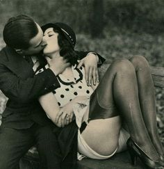 Saturday's Kiss ~ Pettin' in the Park…. 1920s risque Biederer Postcard