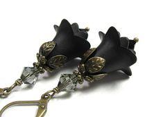 Romantic Black Vintage Style Flower Earrings from jewelrybyNaLa on Etsy https://www.etsy.com/listing/108283249/black-flower-earrings-goth-swarovski #black #jewelry #gifts