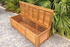 Teak Wood Manhattan Pool and Deck Storage Cushion Box Deck Box, Patio Storage, Outdoor Storage, Wood Storage, Manhattan, Patio Bench, Benches, Cool Deck, Wooden Decks