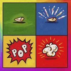 Shop for framed Popcorn Pop by Howie Green. Framed Art, Framed Prints, Art Projects, Project Ideas, Lovers Art, Popcorn, Food Art, New Art, Custom Framing