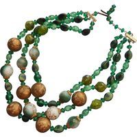 Vintage Green Beads Necklace 3 Strand Glass Plastic W. Germany. Vintage Jewelry under $25 at Ruby Lane @Ruby Lane
