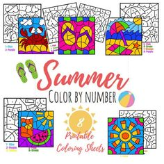 Eight summer color by number coloring pages for kids! Coloring Pages For Kids, Coloring Sheets, Summer Activities, Activities For Kids, Activity Sheets, Learning Through Play, Orange And Purple, Summer Kids, Summer Colors