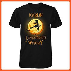Karlin Loves Being Witchy. Halloween Gift - Unisex Tshirt Black 3XL - Holiday and seasonal shirts (*Partner-Link)