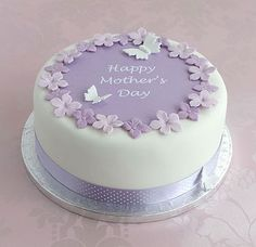 Mother's day cake with mauve polka dot ribbon