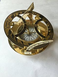 Holzetui Modell ELECSA 9061 Nautic Kompass Sonnenuhr MESSING 11,5cm