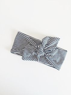 Headband Black and White Mini Stripe Headband by weelittlenuggs