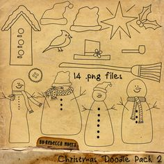Christmas Doodle Pack 2 by RebeccaMyersDesigns on Etsy, $3.00