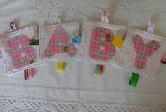 Baby Girl Toys Crinkle toy set of 4 Spells Baby by Sassydoodlebaby, $18.99
