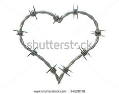 stock photo : Heart of barbed wire