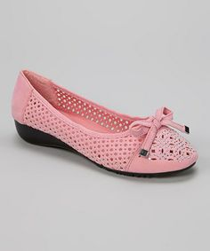 Another great find on #zulily! Pink Embellished Bow Cutout Wedge Flat #zulilyfinds