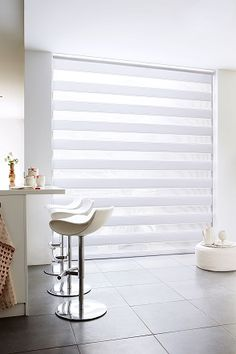 Transitional shades from Budget Blinds provide unique light control for clean, modern spaces. House Blinds, Blinds For Windows, Curtains With Blinds, New Home Windows, Zebra Shades, Zebra Blinds, Budget Blinds, Modern Spaces, Living Room Inspiration
