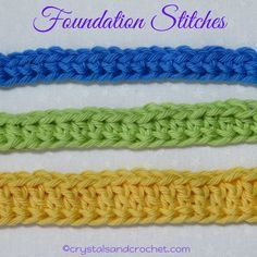 Foundation stitches can be used instead of making a number of chains and then working stitches into the chains. This will be when you are working in rows. The basic principal is the same no matter which foundation stitch you are making, Foundation Single Learn To Crochet, Easy Crochet, Knit Crochet, Mandala Crochet, Crochet Humor, Free Crochet, Crochet Chain Stitch, Single Crochet Stitch, Crochet Borders