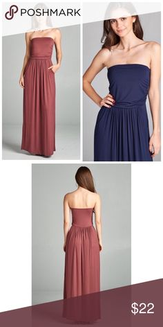 ❗️CLEARANCE❗️Navy Maxi Dress w/pockets S M L Navy maxi dress w/pockets, strapless, 94% Rayon 6% Spandex.  Also available in red bean and taupe!  Available in size Small, Medium, or Large.  No trades, price firm unless bundled.  BUNDLE 3 OR MORE ITEMS FOR 15% OFF!! Boutique Dresses Maxi