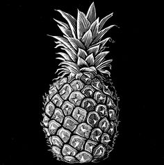 realistic sketch of an ideal pineapple however also a little unique since I feel a sense of style in this