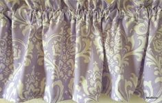 Wisteria Damask Window Valance 52 x 15      Savender and White Damask #Contemporary