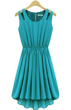 Turquoise Cut Out Shoulder Pleated Dress