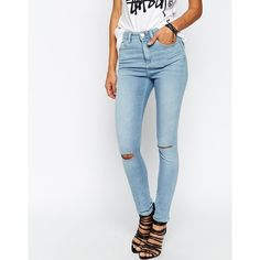 ASOS Ridley Skinny Jeans in Phillipa Lightwash Blue with Displaced... ($23) ❤ liked on Polyvore