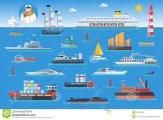 Big Set Of Sea Ships. Water Carriage And Maritime Transport In ...