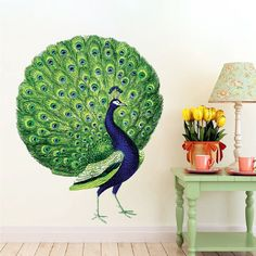 Peacock Wall Decal Mural Birds Of Paradise Wall Vinyl Animal Bird Wall Art, Animal Wall Decals, Bird Wall Art, Flower Wall Decals, Wall Decal Sticker, Wall Vinyl, Peacock Bird, Peacock Feathers, Beautiful Birds, Decoration