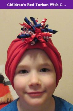 "Children's Red Turban With Corker Barrette Chemo Hat Alopecia Head Cover Cancer Scarf. This turban is made with a soft jersey cotton/poly knit and consists of the hat and the corker ribbon barrette. I've sewn a sleeve in the front of the hat where you can slide the corker barrette. Corker bow measures approx 3 1/2"" from one end of ribbon to the other. All ribbon has been heat seared to prevent fraying. You can remove the barrette for sleep, or for laundering. You can use other hair clips..."