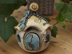 XXL Elfen Haus Keramik Unikat Stele Kunst Original von Elfenflüstern ® auf DaWanda.com