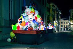 Luzinterruptus' Recycled Plastiksack! Installation Guards the Gewerbemuseum In Switzerland