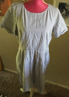 NEW MADEWELL White Gray Striped NWT Size 12 Sold Out Color    eBay