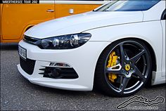 White VW Scirocco on Ferrari wheels and brake calipers