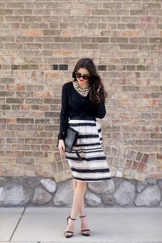 Top: Ruche c/o | Skirt: Ruche c/o | Heels: Zara | Glasses: Prada | Clutch: Ruche c/o | Lips: YSL...