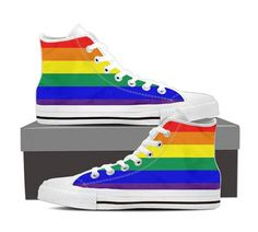Pride Rainbow Hi Tops Gay Pride Flag Shoes for Men and