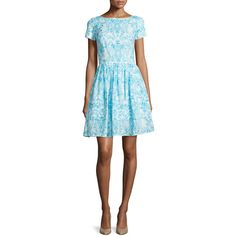 Oscar de la Renta Short-Sleeve Printed Day Dress ($451) ❤ liked on Polyvore featuring dresses, blue, boat neck dress, fitted tops, straight dress, short sleeve dress and blue short sleeve dress