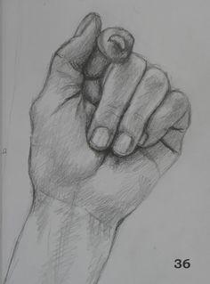 Desenho de uma mão fechada - original retirado do Pintrest