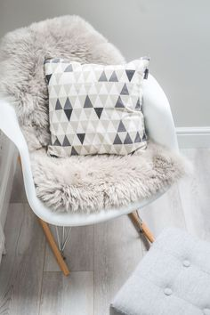 These 50 Designer Living Rooms Are Absolute Goals - Classic Unisex Nursery in Grey & White With Scandi Influences – Cushions - Bedroom Chair, Baby Bedroom, Nursery Room, Girls Bedroom, Bedroom Decor, Scandi Bedroom, Rocking Chair Nursery, Bedrooms, Deco Studio