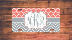 Chevron and Trellis Monogram License Plate by TheMonogramStand