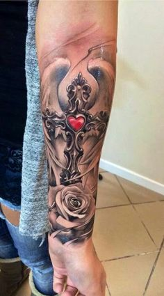 Cross with wings & Rose