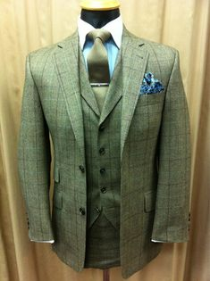 Wedding Suit Tweed Wedding Suit, want this! TD x - Mens Tweed Suit, Tweed Suits, Tweed Jacket, Mens Suits, Plaid Suit, Green Wedding Suit, Tweed Wedding Suits, Three Piece Suit, 3 Piece Suits