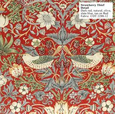 red colourway    www.historicstyle.com/williammorris/wallpapers/fabrics/Strawberry-Thief-COT2288-12-DETAIL.html