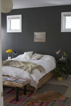 Taking a white wall and painting it a deep gray. SO worth it!