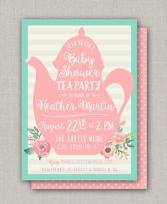 Baby Shower Tea Party Invitation by announcingyou on Etsy Tea Party Invitations, Shower Invitations, Tea Party Birthday, 2nd Birthday, Target Baby, Tea Party Baby Shower, Youre Invited, White Envelopes, Prints