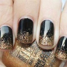Black and Gold glitter nail art