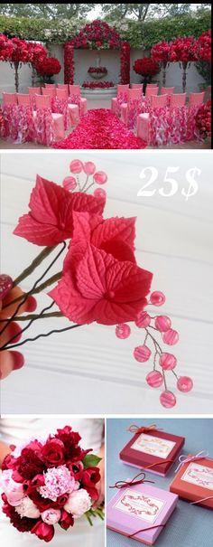 Hydrangea Bridal Hair piece Bridal flowers hairpin Wedding hairjewelry for bride  25$  #pink #redwedding #Hydrangea #Bridal #Hairpiece #Hairpin #Wedding