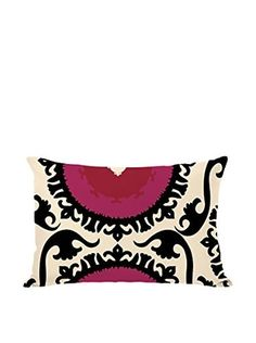 One Bella Casa Suzy Pillow (Ivory/Black/Red)