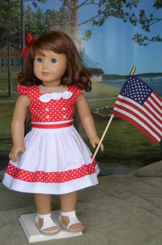 Patriotic Romper Set by AnnasGirls on Etsy Patriotic Dresses, Patriotic Outfit, Ag Doll Clothes, Doll Clothes Patterns, Kansas, American Girl Clothes, Minnie, Holiday Outfits, Girl Dolls