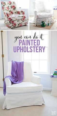 Painting upholstered furniture tutorial. Affordable and easy way to update fabric   In My Own Style